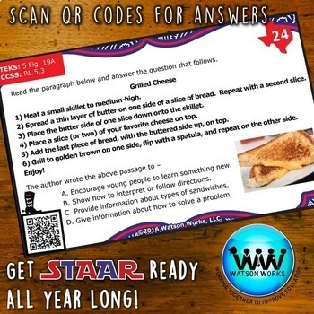 STAR READY 5th Grade Reading Task Cards ~ SET 1 ~ QR Code Version {TEKS-aligned}