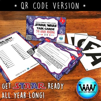 STAAR WARS 5th Grade Reading Task Cards ~ SET 1 ~ QR Code Version