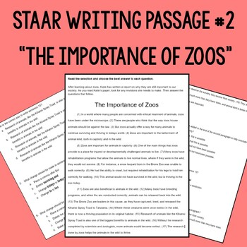 "STAAR Writing Passage #2- ""The Importance of Zoos"""
