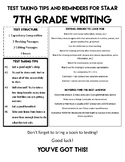 STAAR Writing 7 Tips and Reminders Sheet