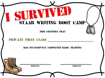 STAAR Writing Boot Camp Certificate