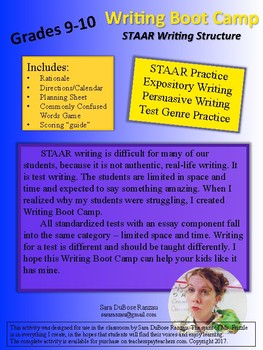STAAR Writing Boot Camp - English I and II