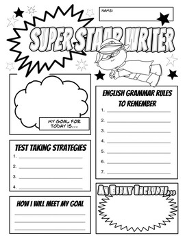 STAAR Writing Day Goal and Fun Sheet