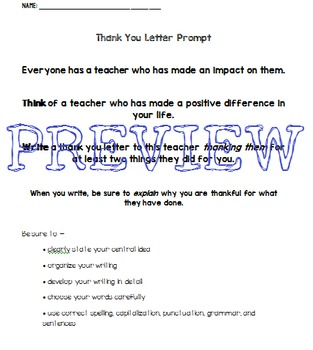 STAAR Writing Expository Practice Prompt: Thank You Letter