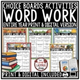 Word Work Choice Boards and Spelling Activities