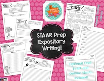 STAAR Writing Prep Weekly Essay Homework BUNDLE- Narratives & Expository