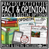 Fact and Opinion Activities 3rd Grade, 4th Grade -Worksheets, Task Cards & More