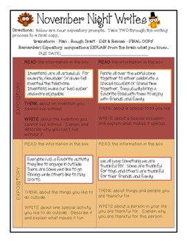 STAAR Writing Prompts for the year - 4th grade
