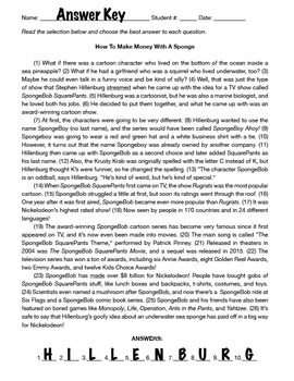 STAAR Writing Review — SpongeBob Squarepants Passage & Questions