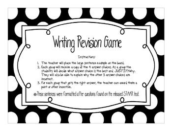 STAAR Writing Revision Game