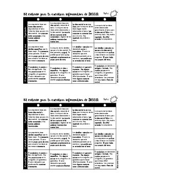 STAAR Writing Rubric in SPANISH-Grade 4
