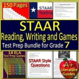 7th Grade STAAR Test Prep Writing and Reading Practice Tests + STAAR Game Bundle