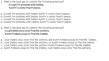 STAAR Writing Test Combining Sentences Practice Writing# 1 TEKS 4.15C