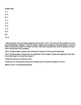 STAAR Writing Test Combining Sentences Practice Writing # 2