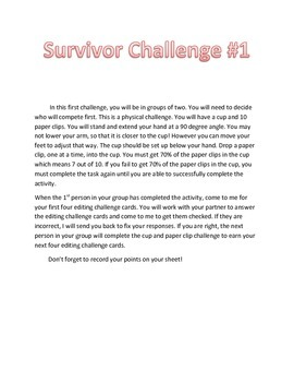 STAAR Writing Test Review Game-Survivor Theme