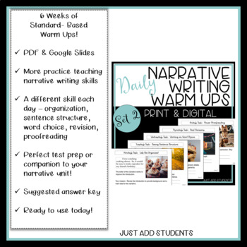 Writing Daily Editing Practice -- Narrative Writing Warm Ups - Set 2