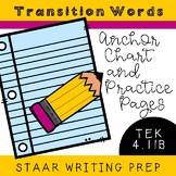 STAAR Writing for Transitions Words TEK 4.11B: Anchor Chart and Practice Pages