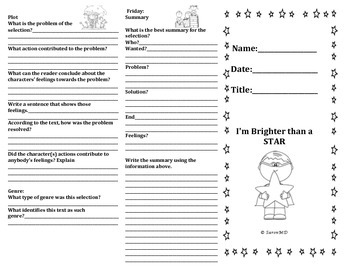 STAAR aligned foldable with question stems for guided or independent reading
