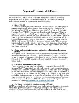 STAAR information in Spanish