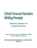 """STAAR """"like"""" Personal Narrative Writing Prompts"""