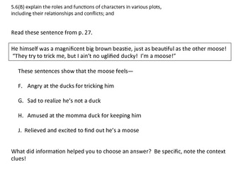 STAAR questions, 5th grade TEKS aligned: The Uglified Duck