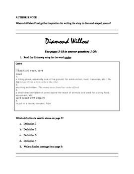 Novel Study Guide to Diamond Willow by Helen Frost