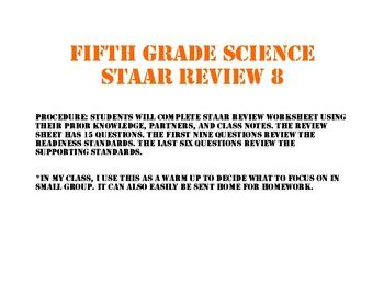 STAAR review sheet eight