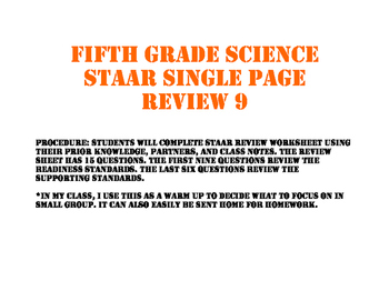 STAAR review sheet nine