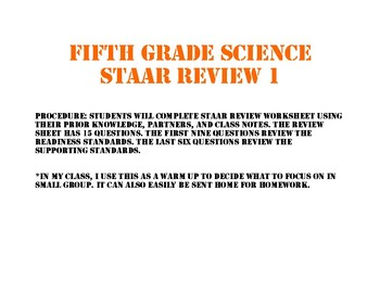 STAAR review sheet one