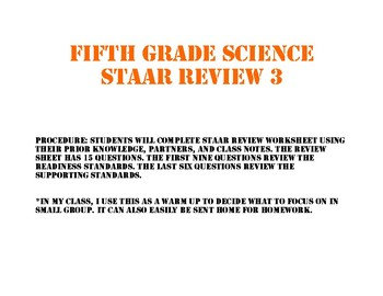 STAAR review sheet three