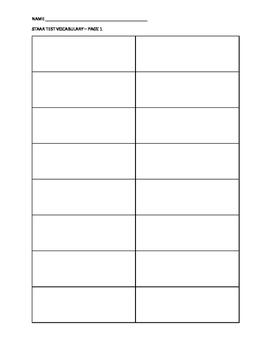 STAAR science vocab sheet