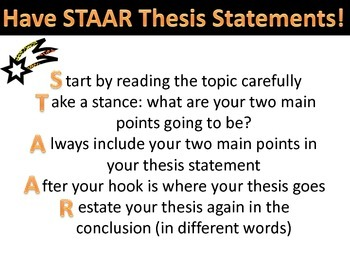 Staar Thesis Statements Handoutposter By Emmie Drueckhammer  Tpt Staar Thesis Statements Handoutposter