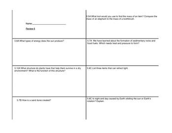 STAAr review sheet six
