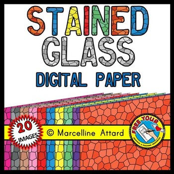 STAINED GLASS DIGITAL PAPERS: STAINED GLASS BACKGROUNDS: CLIPART BACKDROPS