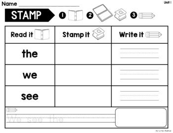 WONDERS Kindergarten STAMP Sight Words