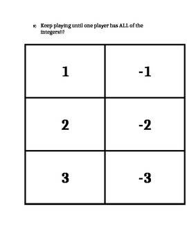 STANDARD 6.NS.C7abcd COMPARING INTEGERS
