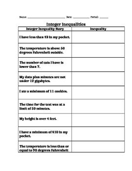 STANDARD 6.NS.C7abcd  INTEGER INEQUALITIES PART 2