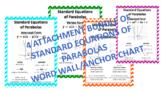QUADRATIC STANDARD EQUATIONS PARABOLAS - ALGEBRA 1 & 2 WOR