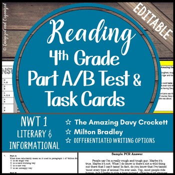 Reading Part A Part B Test, Task Cards NWT 1- Folktale, Nonfiction
