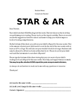 STAR & AR Parent Letter