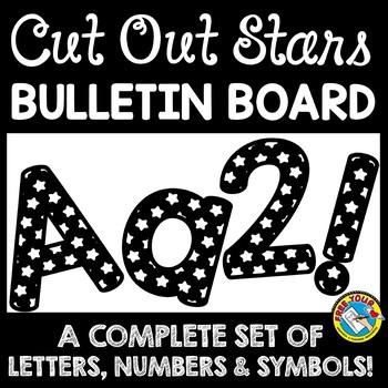 STAR BULLETIN BOARD LETTERS BLACK AND WHITE CLASSROOM DECOR