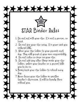 STAR Binder Rules for Upper Elementary - FREE