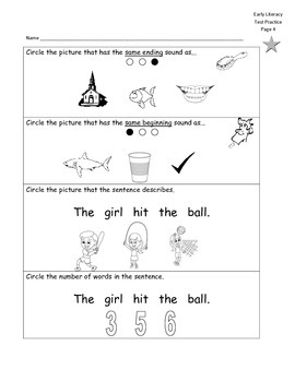 Early Literacy Test Prep pages (middle, beg, end sounds)
