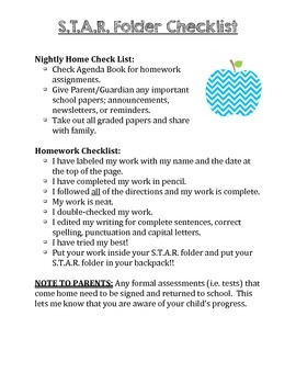 S.T.A.R. Folder Homework Checklist