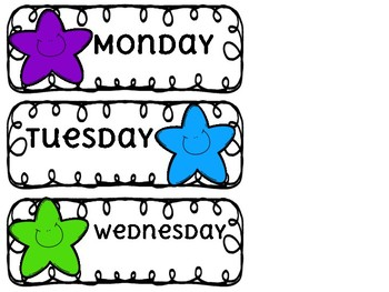 STAR Monday-Friday Organization Labels