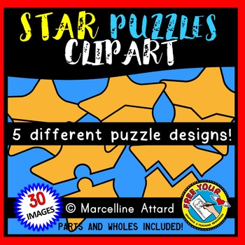 4TH OF JULY CLIPART (STAR PUZZLES CLIPART) SELF-CORRECTING PUZZLE TEMPLATES
