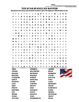 """THE STAR SPANGLED BANNER"" WORD SEARCH! GREAT ""BACK TO SCHOOL"" ACTIVITY!"