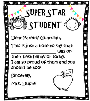 STAR STUDENT NOTE HOME
