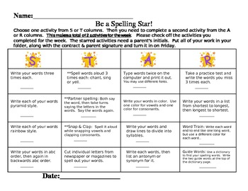 STAR Spelling Word Contract Shortened Version
