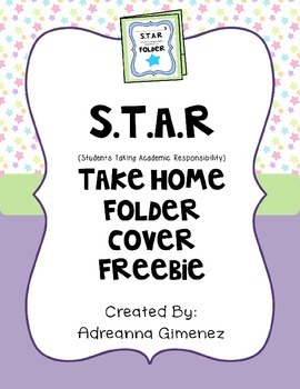 S.T.A.R Take Home Folder Cover (Editable) Freebie in Pastels
